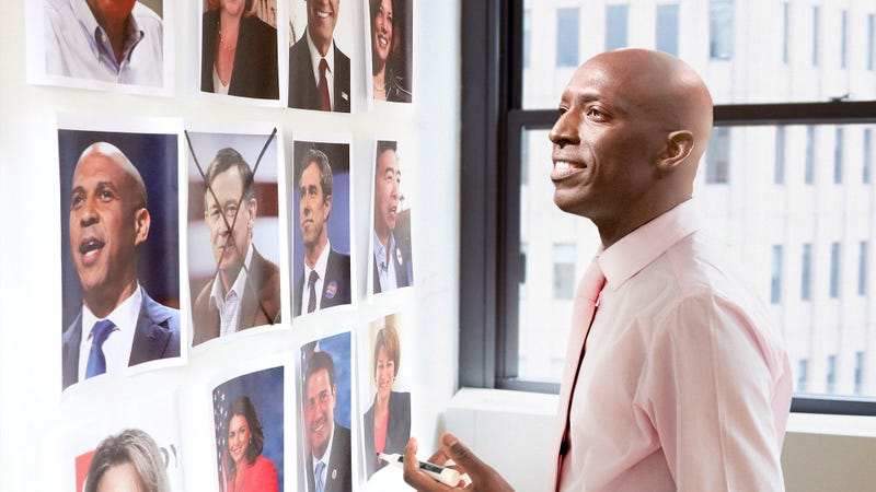 Illustration for article titled 'And Then There Were 23,' Says Wayne Messam Crossing Out Hickenlooper Photo In Elaborate Grid Of Rivals