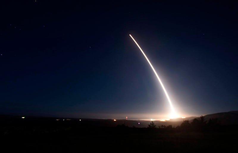 U S  Tests Minuteman III ICBM As Russia Speeds Past In