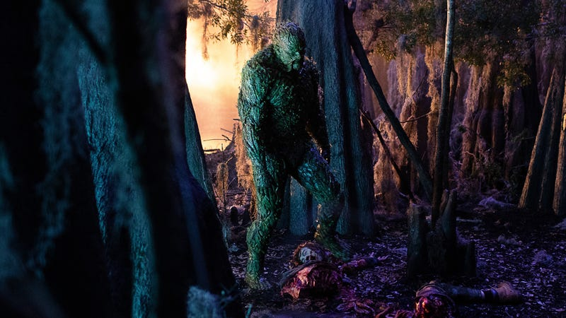 Swamp Thing coming across a dead body.