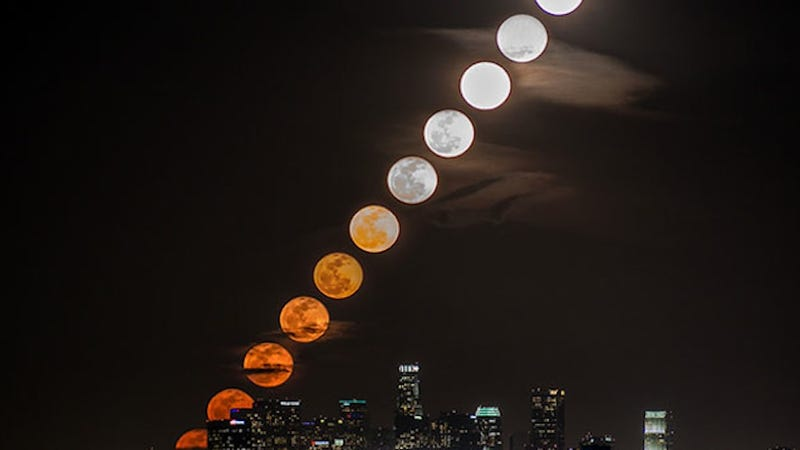 Illustration for article titled This Timelapse Turns the Moon into a Flaming Cannonball