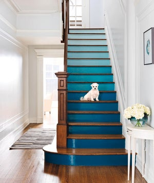 I Sort Of Want To Do This To My Stairs. I Think I Could Get Away With It...  Below Is A Picture From The Bathroom And Kitchen We Painted Last Summer.