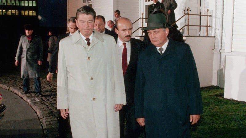 Former U.S. President Ronald Reagan alongside Mikhail Gorbachev