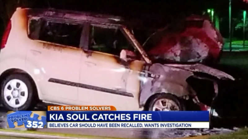 The 2012 Kia Soul that went up in flames with Virginia teenager Bailey Belcher driving it earlier this year. His mother, Michelle Belcher, said in July that she was still on the hook for a large portion of the payments after the fire happened.