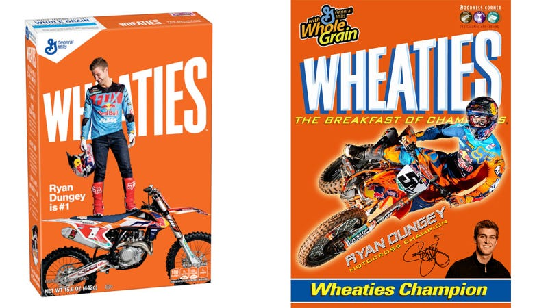Illustration for article titled This Is The First Motorcycle Racer To Make It Onto A Box Of Wheaties