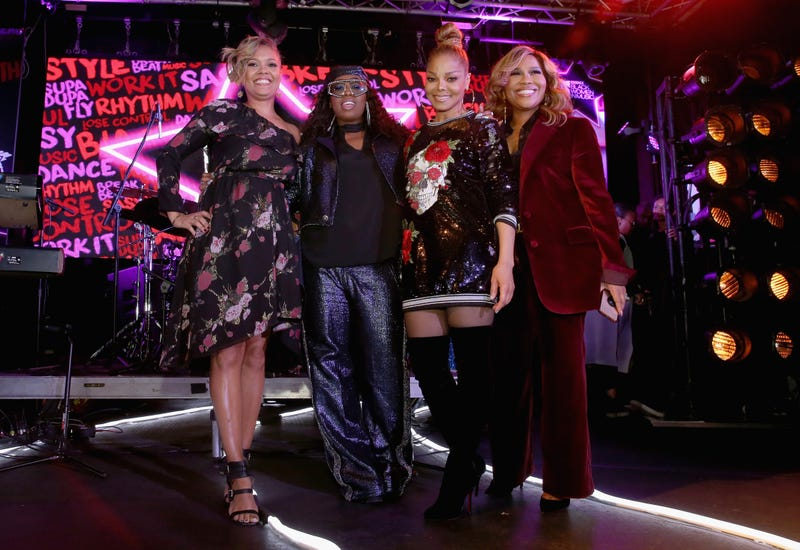 Essence Entertainment Director Cori Murray, Missy Elliott, Janet Jackson and producer Mona Scott-Young(Bennett Raglin/Getty Images for Essence)