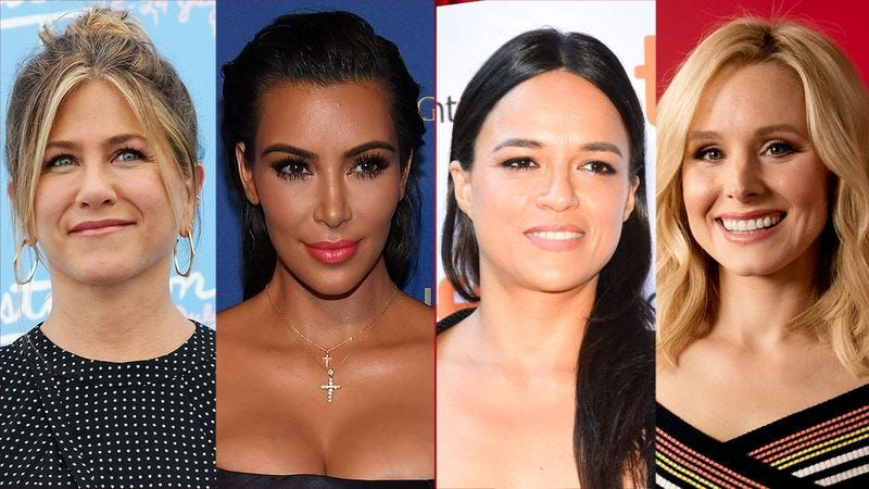 Illustration for article titled 3 Jennifer Anistons, 2 Kim Kardashians, 4 (FOUR!!!) Michelle Rodriguezes, And Very Sorry But Only 1 Kristen Bell