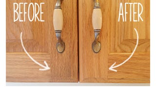 Erase Aculated Kitchen Grime with this Two-Ingredient Solution on organizing deep kitchen cabinets, polish wooden kitchen cabinets, solution for cleaning wallpaper, cleaning stained cabinets, solution for cleaning siding, painting kitchen cabinets,