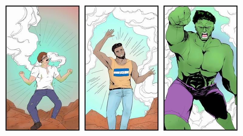 A Hulk comic strip.