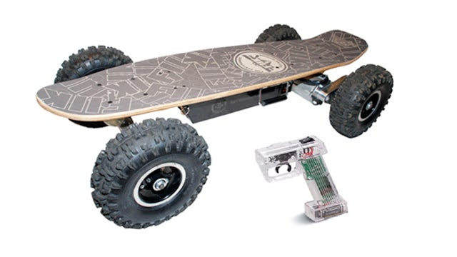 this motorized skateboard cruises for miles off road. Black Bedroom Furniture Sets. Home Design Ideas