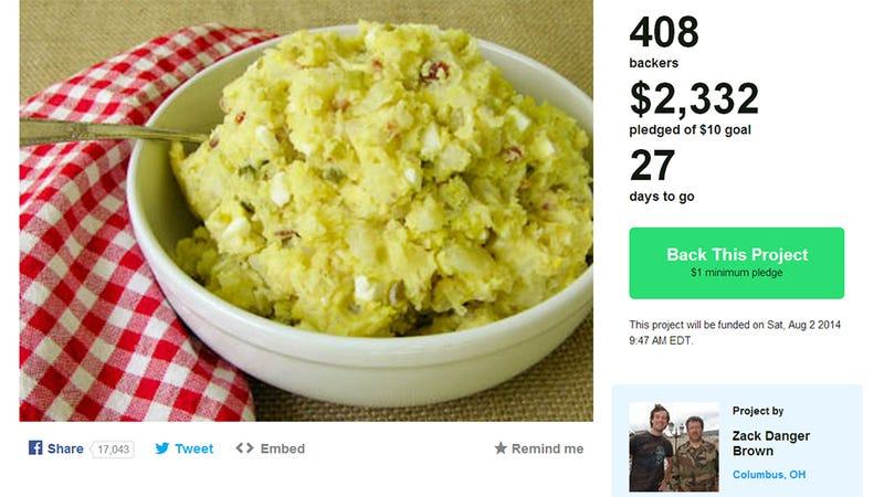 Illustration for article titled Potato Salad Meets Kickstarter Goal 200 Times Over [UPDATE]