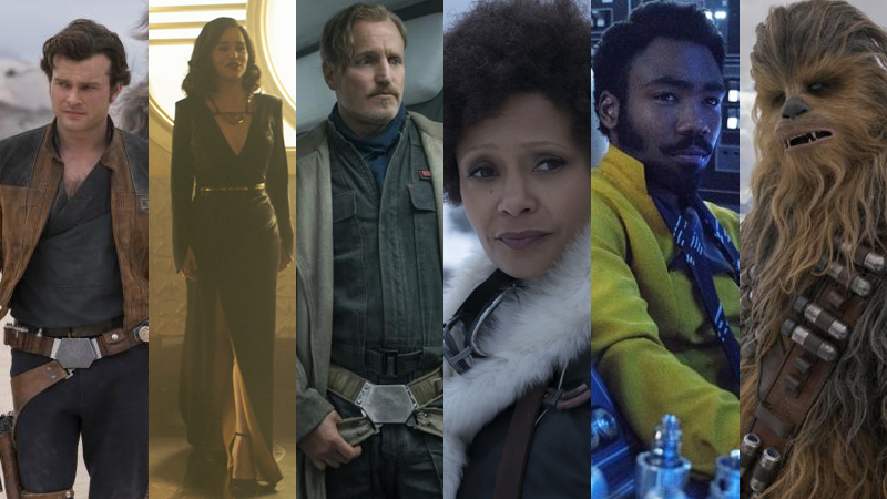 From left to right Han (Alden Ehrenreich), Qi'ra (Emilia Clarke), Beckett (Woody Harrelson), Val (Thandie Newton), Lando (Donald Glover), and Chewbacca (Joonas Suotamo).
