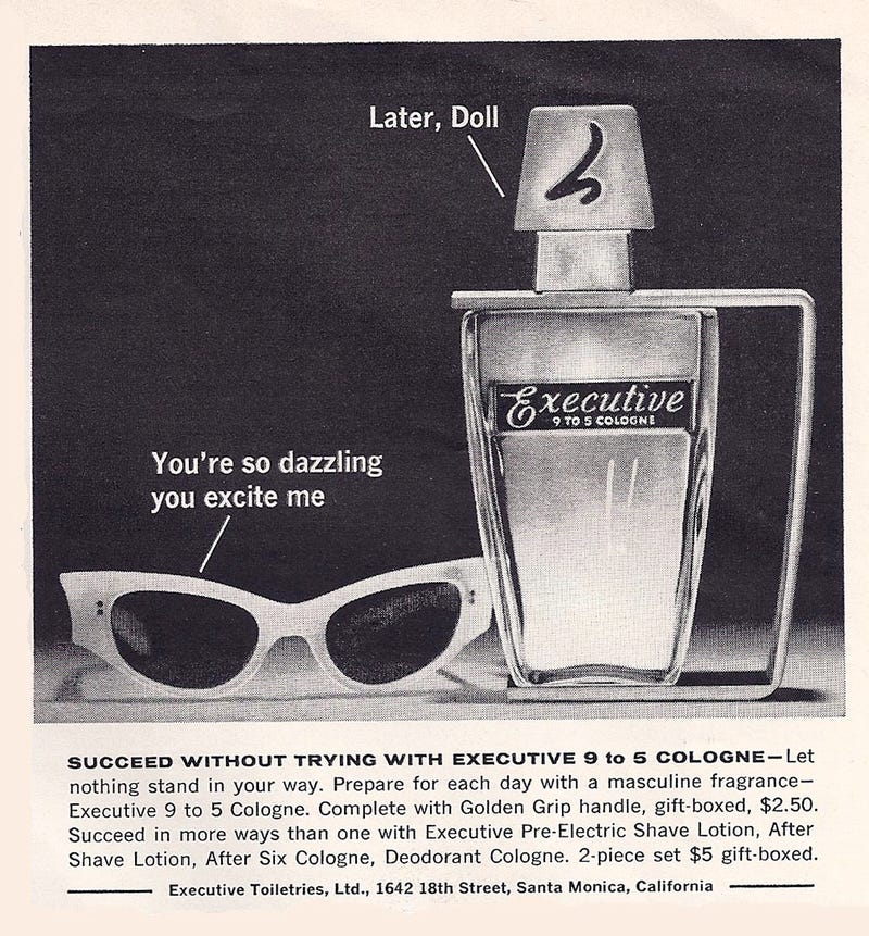 Illustration for article titled Vintage Cologne Exclusively For Womanizing Male Executives