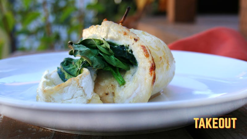 Illustration for article titled I saved my brother's date night with this Brie spinach-stuffed chicken