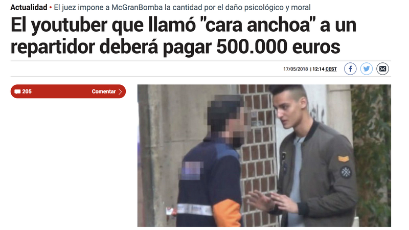 Illustration for article titled No es cierto que MrGranbomba tenga que pagar 500.000€ al repartidor que llamó caranchoa