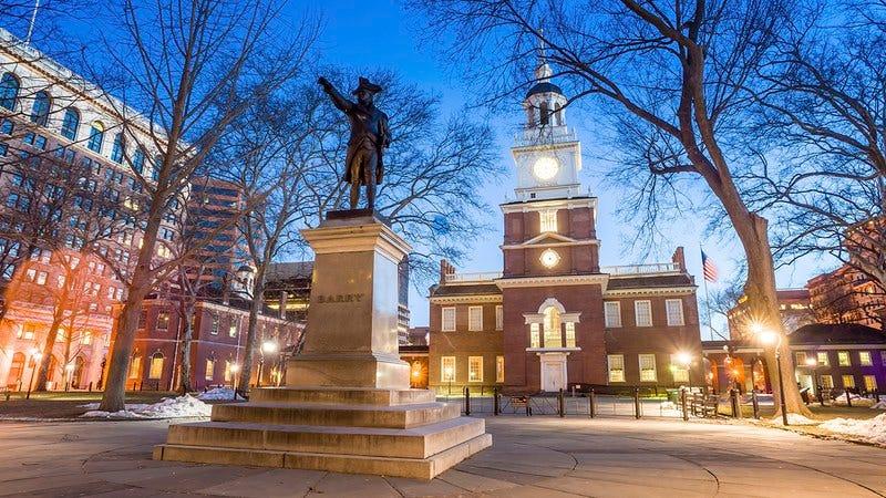 Historic Philadelphia at night.