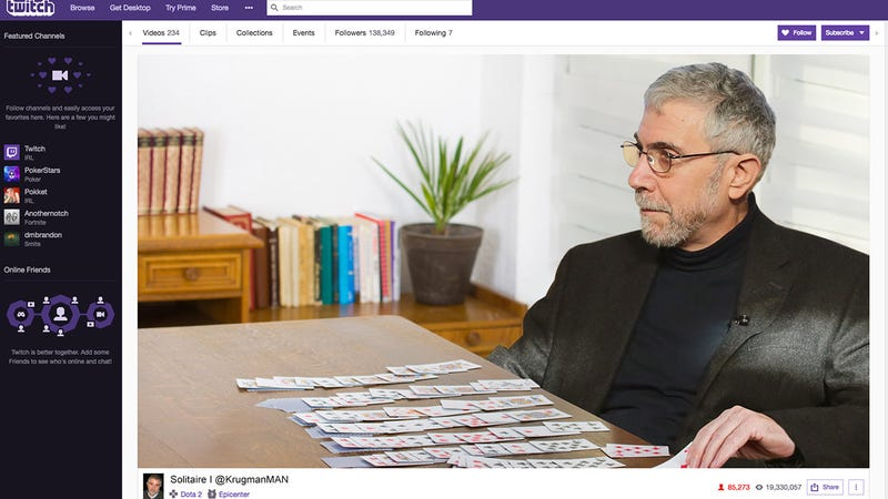 Illustration for article titled The Future Of Journalism:'The New York Times'Is Trying To Win Over A Younger Audience By Having Paul Krugman Livestream Solitaire On Twitch While Discussing Trade Regulations