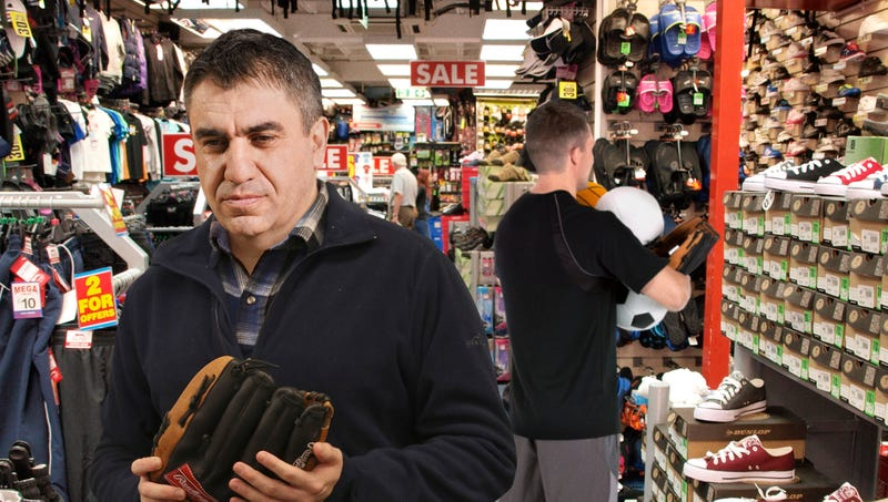 Illustration for article titled Everyone In Sporting Goods Store Looking For Something To Get On Stepson's Good Side
