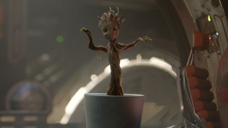 Illustration for article titled Dancing baby Groot gets a heavy metal makeover