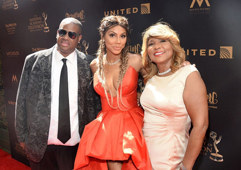 Tamar Braxton (center) with Vincent Herbert and Evelyn Braxton on the red carpet at the 43rd Annual Daytime Emmy Awards at the Westin Bonaventure Hotel on May 1, 2016, in Los Angeles (Matt Winkelmeyer/Getty Images for NATAS)