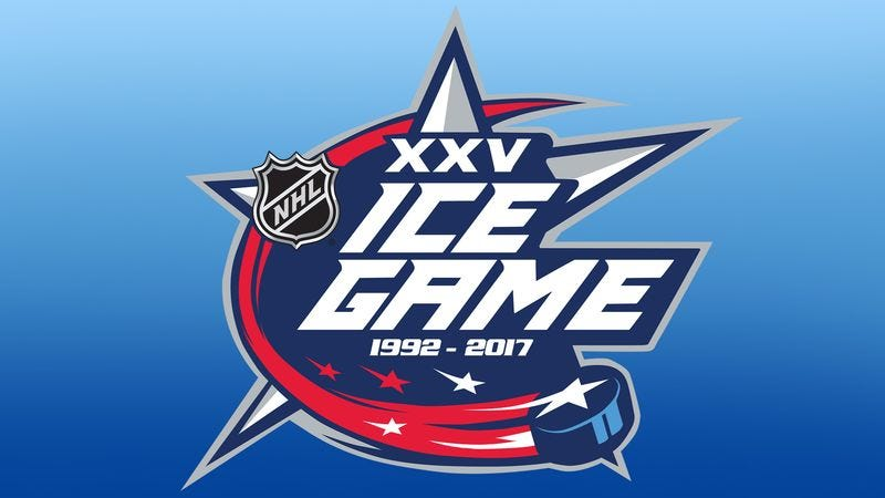 A logo of the NHL XXV Ice Game.