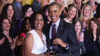 Jahana Hayes, a high school history teacher from Waterbury, Conn., celebrates being named the 2016 National Teacher of the Year with President Barack Obama during an event at the White House in Washington, D.C., on May 3, 2016.JIM WATSON/AFP/Getty Images