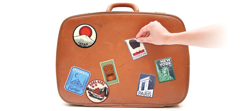 Illustration for article titled Modern Luggage Decals Let You Humblebrag About Your Travels