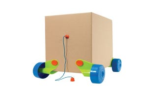 Illustration for article titled Effectively Double Your Kid's Birthday Present Haul With These Cardboard Box Wheels