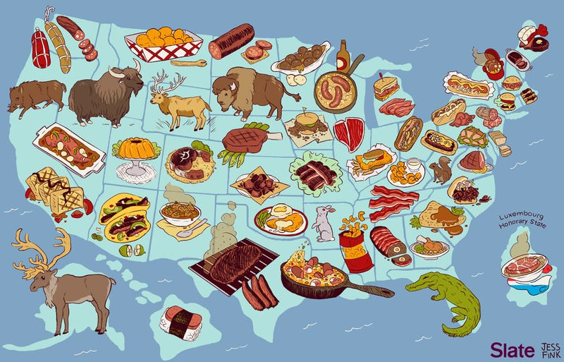Map: The United States Of America, By Meat