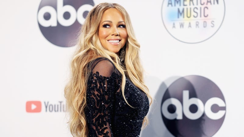 Mariah Carey poses in the press room during the 2018 American Music Awards on October 9, 2018 in Los Angeles, California.