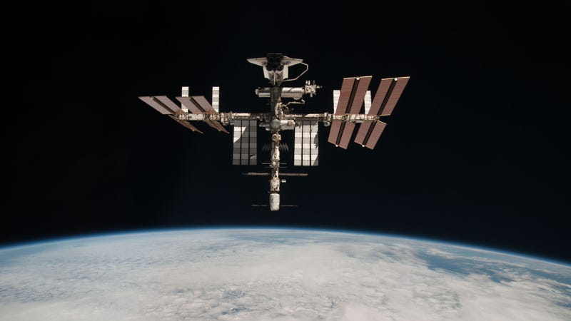 Not a satellite, but that is the International Space Station.