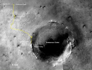 Illustration for article titled NASA's Opportunity Rover Just Smashed The Off-World Driving Record