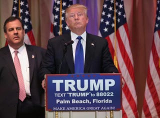 GOP presidential front-runner Donald Trump, flanked by Republican New Jersey Gov. Chris Christie, holds press conference in Palm Beach, Fla., on Super Tuesday, March 1, 2016.John Moore/Getty Images