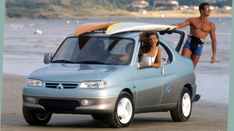 I'd be smiling too if I thought the Citroën Berlingo Coupe de Plage was what the future of the autom