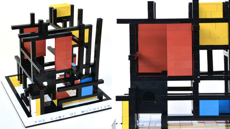 Illustration for article titled This Pseudo-Mondrian Lego Sculpture Should Be in a Museum