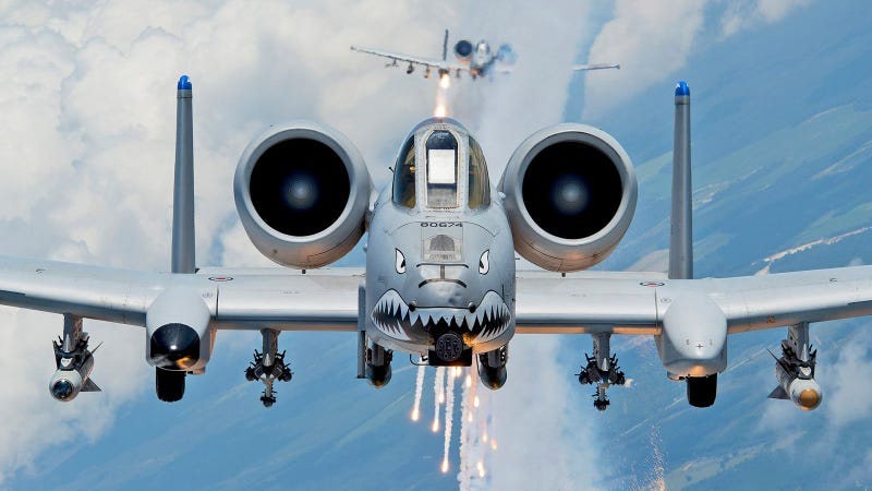 An A-10C Thunderbolt II, or Hog, as seen from the rear of a HC-130.  USAF Photo