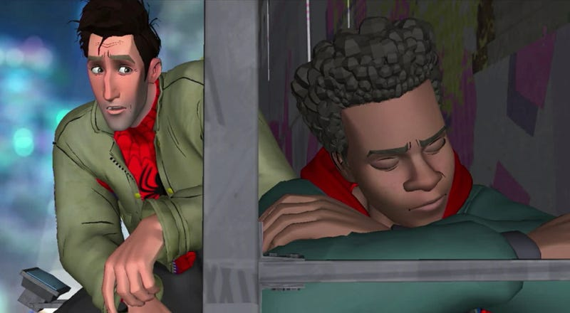 Peter chats up Miles in a deleted, unfinished, scene from Spider-Man: Into the Spider-Verse.