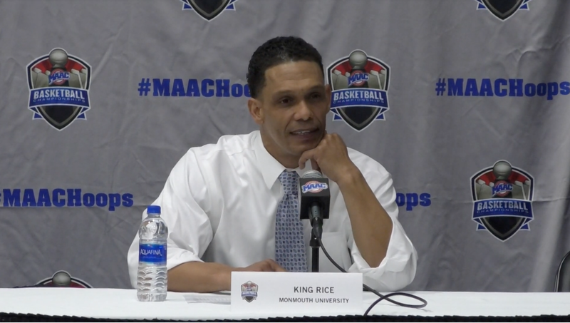 Illustration for article titled Monmouth Coach King Rice Calls Out Absurd MAAC Rules That Prevented Him From Bringing His 7-Year-Old Son To The Postgame Press Conference
