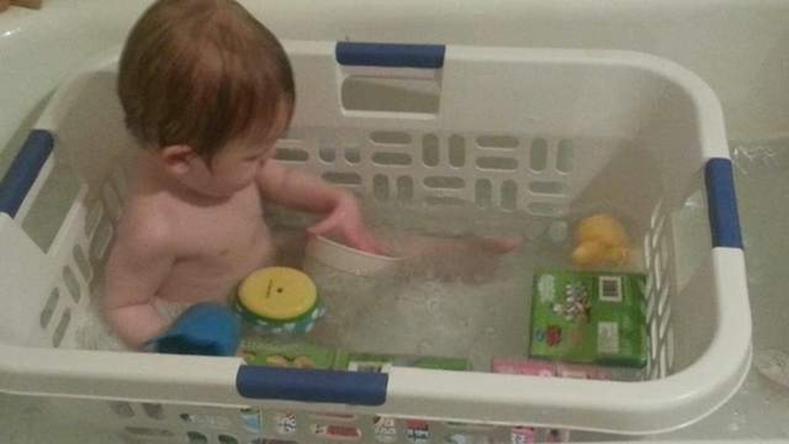Make a Toddler\'s Bath Time Less Frustrating with a Laundry Basket