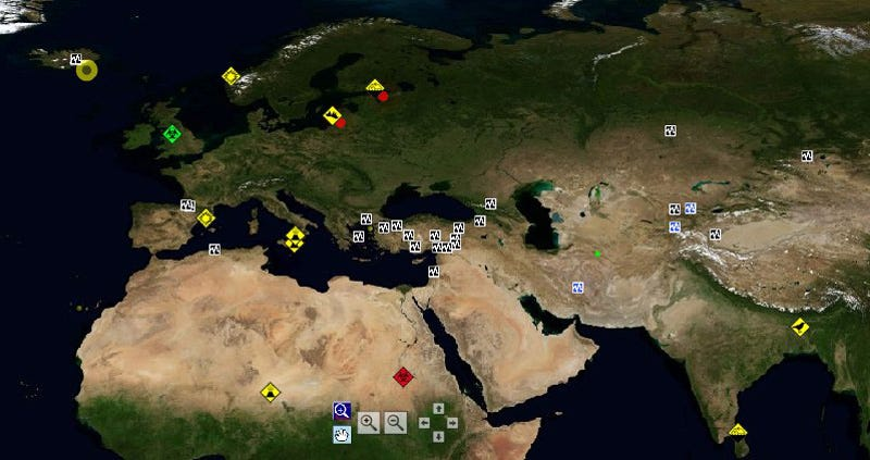 World disaster map gives you the big terrifying picture the national association of radio distress signalling and infocommunications in hungary has put together a helpful real time map of global disasters gumiabroncs Image collections