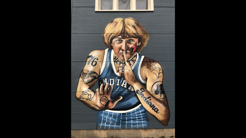 This mural of Larry Bird in Indianapolis will soon be nearly tattoo-free.