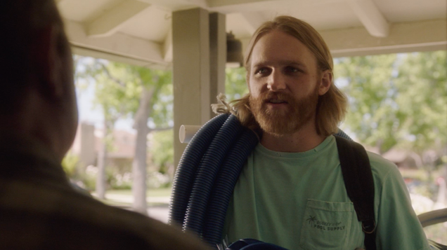 Wyatt Russell shows off his sales pitch in this Lodge 49 exclusive