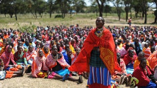 A woman speaks as Masai women gather for a meeting about the practice of female genital mutilation June 12, 2014, in Enkorika, Kajiado, in Kenya.SIMON MAINA/Getty Images