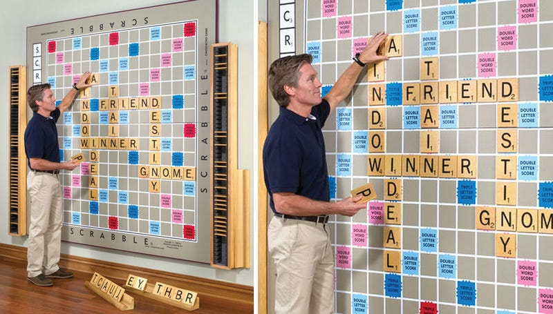 Illustration for article titled I Hope This Giant Wall of Scrabble Contains Centuple Word Scores