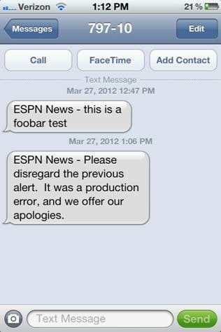 Illustration for article titled Mistaken ESPN Text Alert Reads Like A Cry For Help