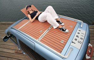 Illustration for article titled Volkswagen Caddy Van Features a Wooden Boat Deck For Sunbathing