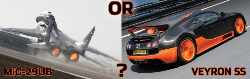 Illustration for article titled You Have $4 Million, Do You Buy A Bugatti Veyron SS Or MiG-29UB?