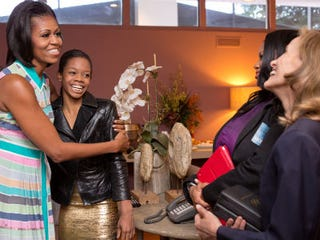 Michelle Obama and Gabby Douglas (Sonya N. Hebert/Official White House Photo)