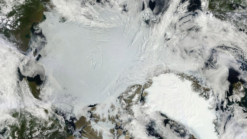 Composite satellite image showing Arctic sea ice (center) and the Greenland ice sheet (lower right)