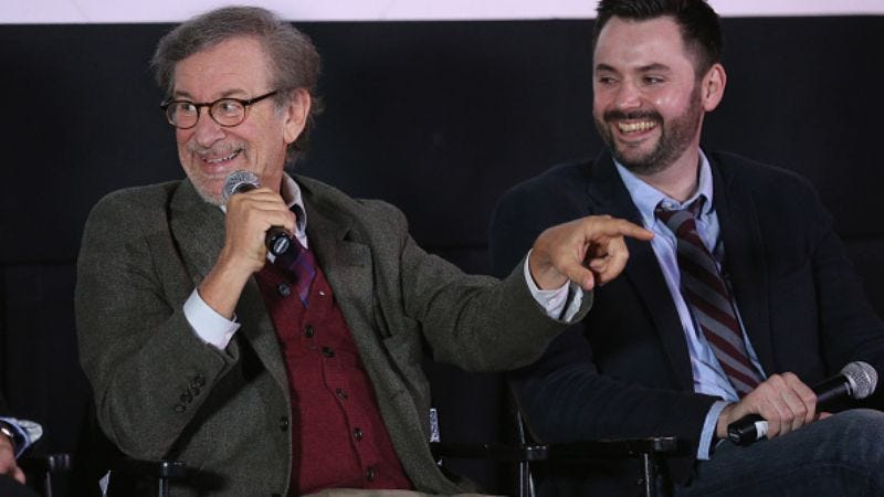 Steven Spielberg and Matt Charman (Robin Marchant/Getty Images)