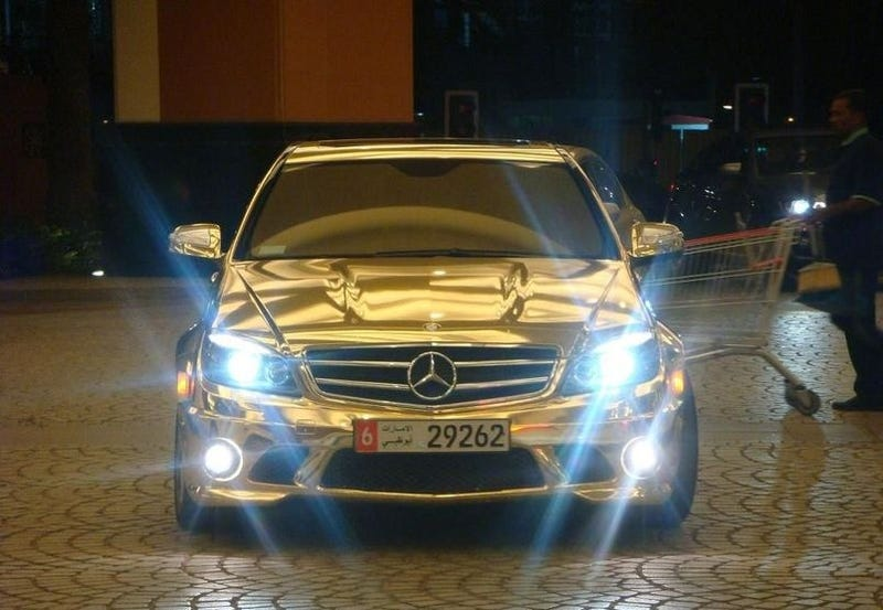 Illustration for article titled Gold Chromed Mercedes C63 AMG Pushes Excess Higher